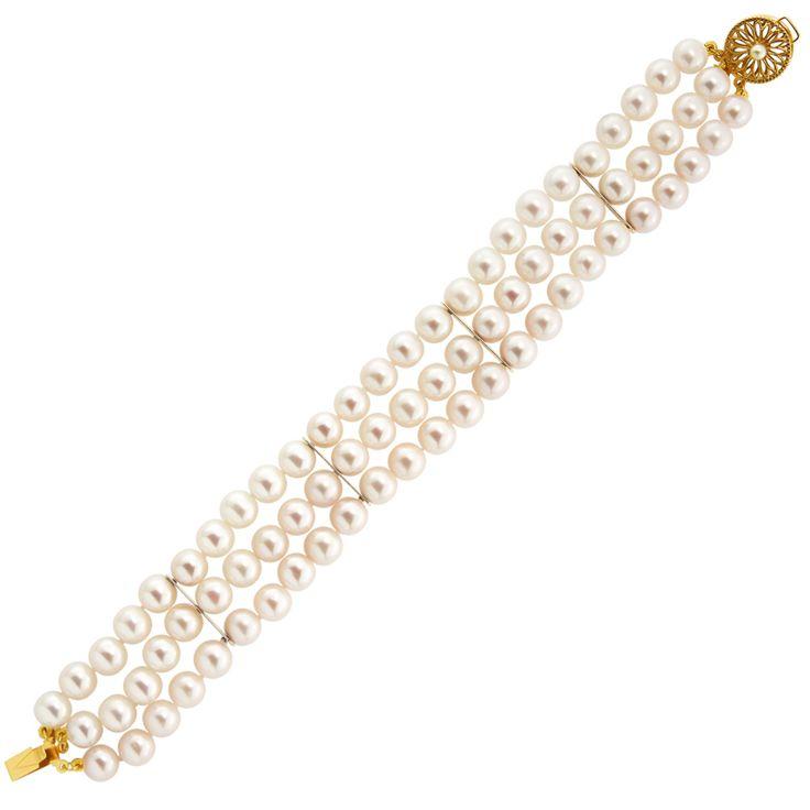 Βραχιόλι με λευκά μαργαριτάρια και χρυσά στοιχεία Κ14 - G122325