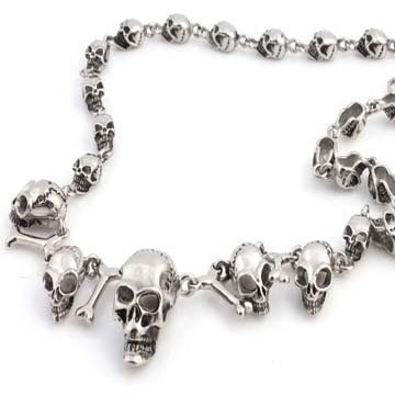 STAINLESS STEEL SILVER GOTHIC CHOPPER MOTORCYCLE SKULL & BONES NECKLACE CHAIN 24in (24 Inches) THE ICE EMPIRE. Save 26 Off!. $36.95. STYLE:   GOTHIC CHOPPER MOTORCYCLE SKULL & BONES. METAL: 316L STAINLESS STEEL. CHAIN LENGTH: 24, 22, 20 inches. A MUST HAVE FOR ANY NECKLACE COLLECTON!. LARGEST SKULL: 27MM