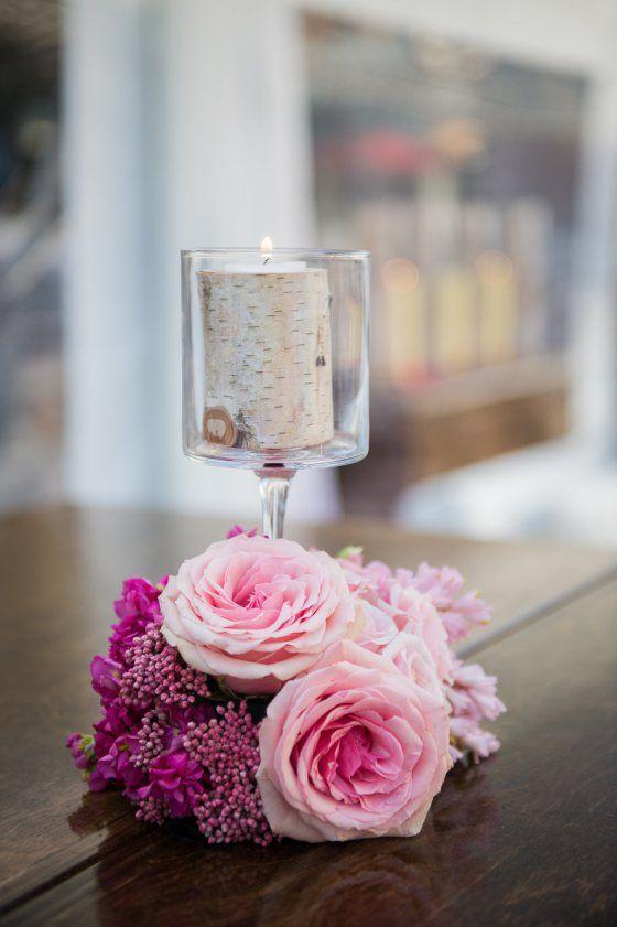 Rose and Aspen candle arrangement Engage14 Welcome Party | Beaver Creek Resort, Beaver Creek, Colorado | Photography  Carla Ten Eyck, John Cain Sargent, Tammy Swales, Sofia Negron, Laura DeCarlo | Bloom Flower Shop | Bella Design & Planning | gobella.com