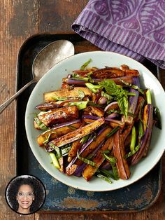 Make Carla Hall's hot & sour eggplant stir-fry: http://greatideas.people.com/2014/04/02/carla-hall-recipes-cookbook-eggplant-stirfry/