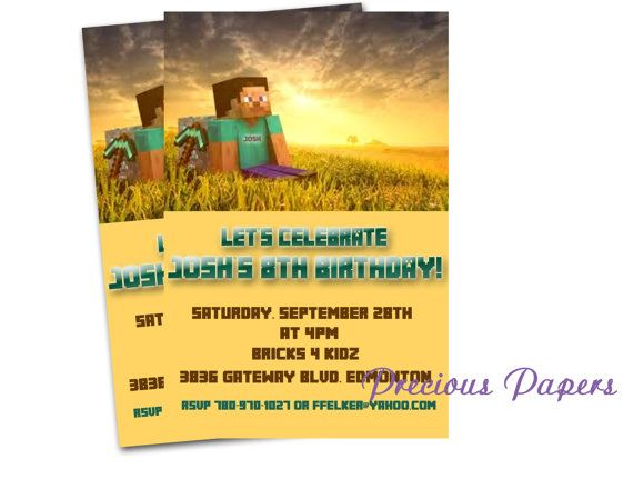 19 best Dannyu0027s Party images on Pinterest Birthdays, Birthday - mine craft invitation template