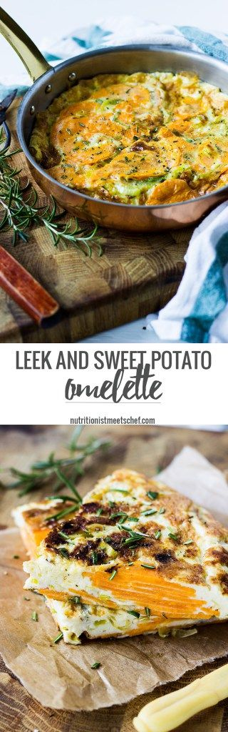 Leek Sweet Potato Omelette, seasoned with rosemary and parmesan. Perfect for…