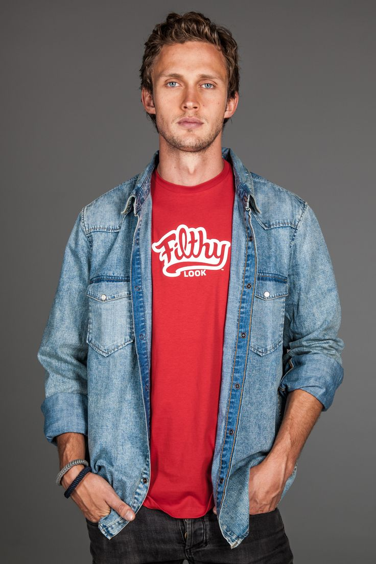 Original Red Filth. Layered with light denim shirt for a casual look.