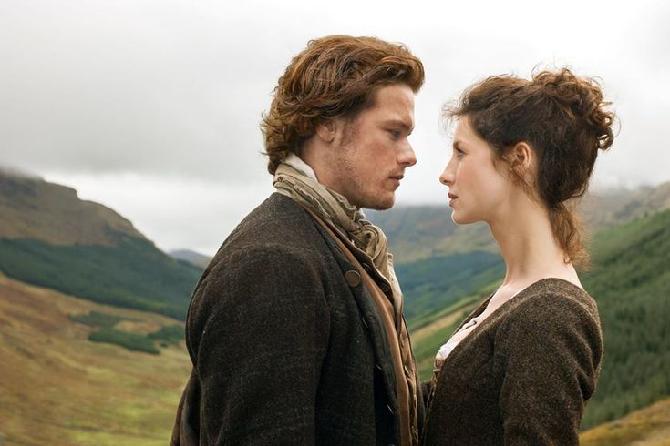 Sam Heughan as Jamie Fraser and Caitriona Balfe as Claire Randall in Outlander on Starz