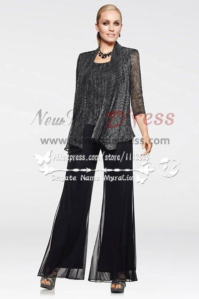 Fashion Glitter Three Piece Black Mother Of The Bride Pants Suit