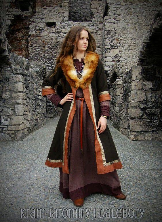 Frühe mittelalterliche Mantel für Frau, Viking, Slav, Nachstellung