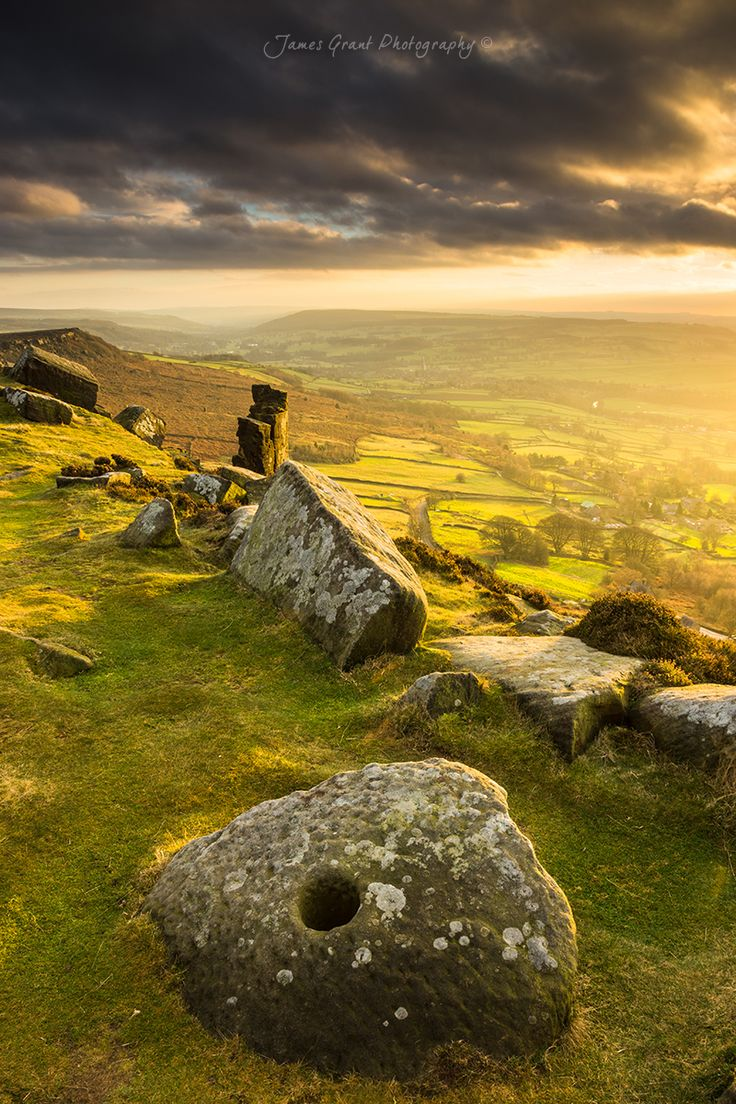 Curbar Millstone Sunset - Peak District Photography