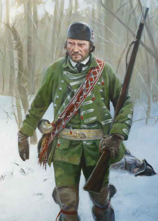 """""""Robert Rogers"""" by Marc Grieves - """"Rangers? Pshaw, I wouldn't trust 'em if I were you. There's somethin' wrong wi' 'em up here, if you takes my meaning. Comes from them givin' up all them proper rules o' warfare like proper civilized folk to fight like the Indians. Halfway to becoming savages themselves at this rate, I'd wager. Mark my words, boy - nothing good ever comes from doin' that."""""""