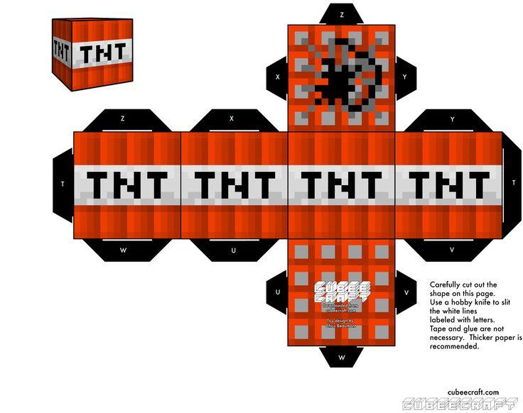 TNT Minecraft Labels Printable Free | Fuentes de Información - Modelos de cubeecraft megapost