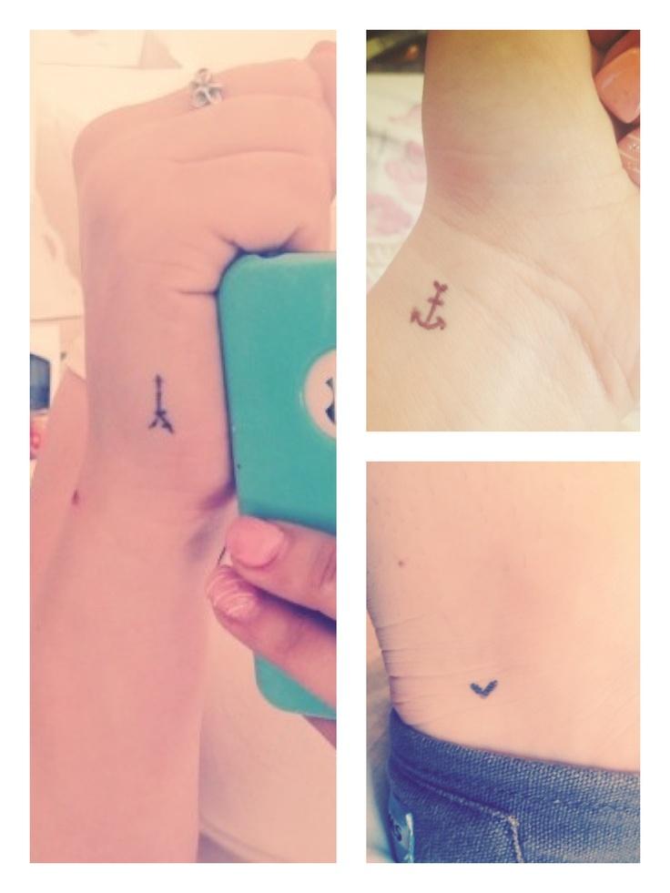 Tattoo ideas I am loving! Eiffel Tower tattoo, anchor tattoo, heart tattoo.