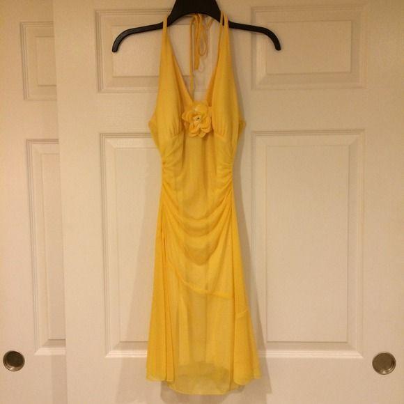 Yellow cocktail dress Yellow halter cocktail dress Dresses