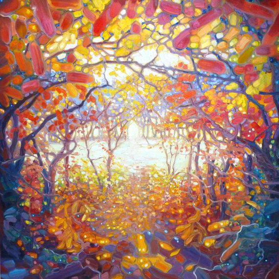 Print on Canvas Clearing in an Autumn Wood a woodland path