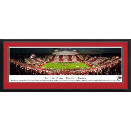 Utah Utes Football - Stripe-the-Stadium Game at Rice-Eccles - Blakeway Panoramas Ncaa College Print with Deluxe Frame and Double Mat