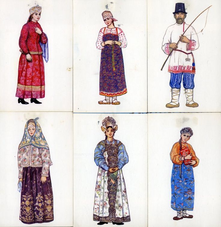Russian (Eastern Slavic) folk costumes; north