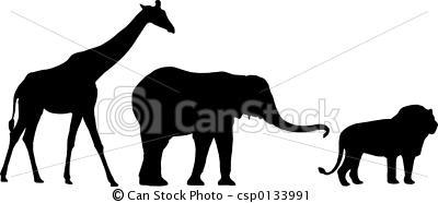 silhouette giraffe, elephant, lion