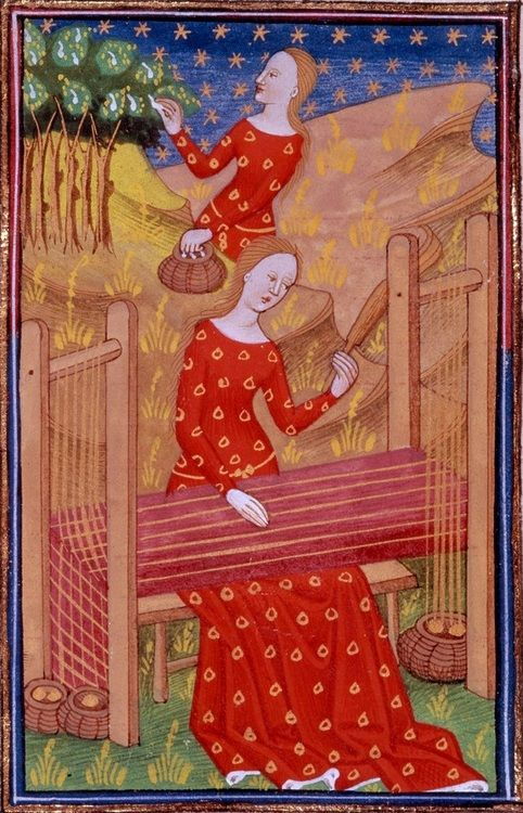 15th century (ca. 1440) Northern France - Rouen  British Library  Royal 16 G V: Le livre de femmes nobles et renomées (De Mulieribus claris) by Giovanni Boccaccio; illuminated by the Talbot Master  fol. 59v - Pamphile collecting and weaving silk  http://www.bl.uk/catalogues/illuminatedmanuscripts/record.asp?MSID=8359=16=160705  Lovely dress; but wow, my eyes hurt.