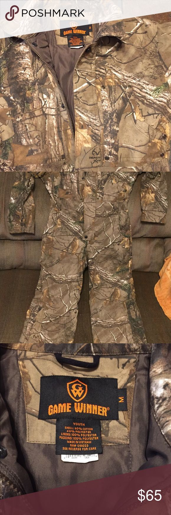 Game Winner Youth Coveralls Realtree Print Insulated Youth Coveralls! Size youth Medium. Worn for only 2 hours! As good as new! The waist is 15 inches across and the inseam is 24 inches! Game Winner Jackets & Coats Utility Jackets