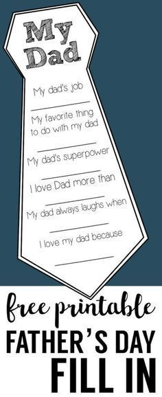 Father's Day Free Printable Cards. DIY Father's Day fill in cards are a great father's day craft. Easy Father's Day homemade gifts for Dad and Grandpa.