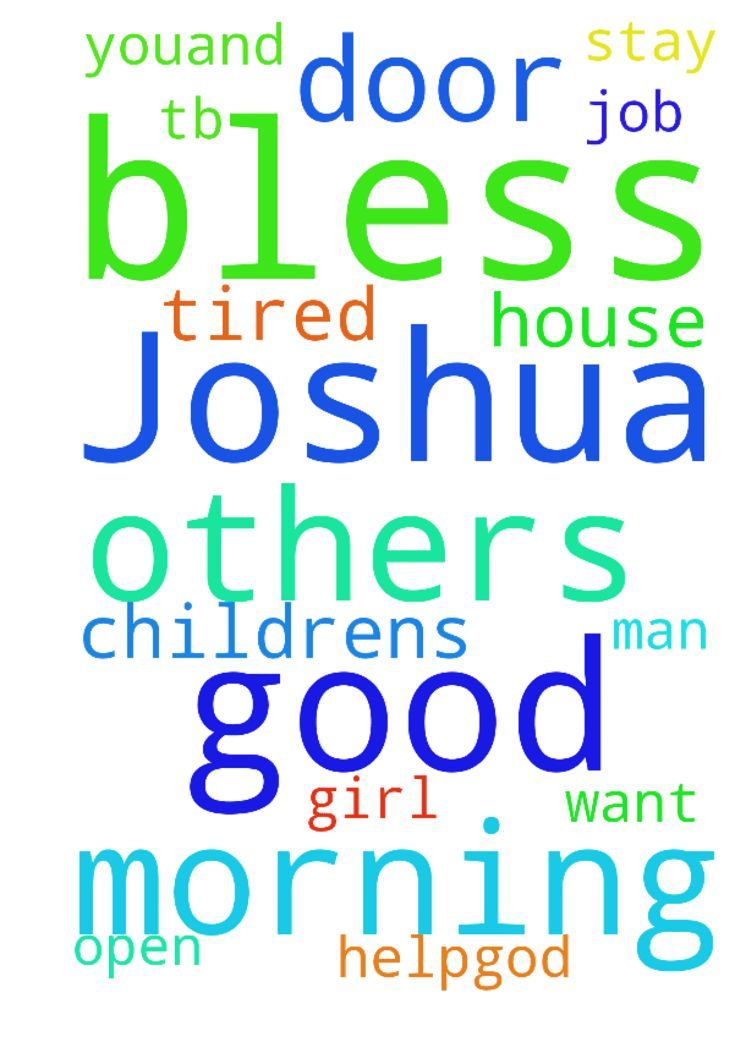 Good morning T.b Joshua and others God bless all of - Good morning T.b Joshua and others God bless all of you,and pray for me am a house girl , but am tired with this job. please pray for me God will open the door for me, and I want to stay with my childrens, please the man of God I need your help.God will bless you amen Posted at: https://prayerrequest.com/t/RMj #pray #prayer #request #prayerrequest