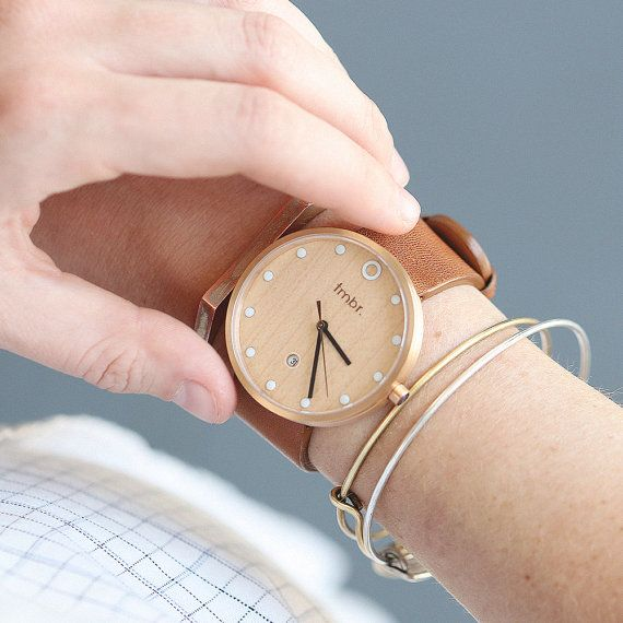 Women's Watch Wood, Cherry Wood Watch with Rose Gold Casing and Brown Leather Strap - MILL-CRG
