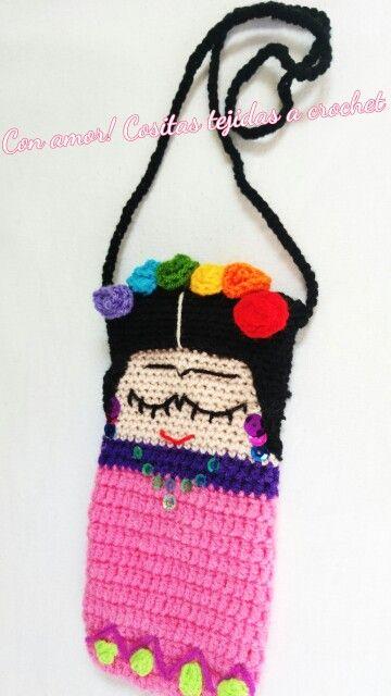 Frida Kahlo Porta celular, funda tejido a crochet 100% hecho a mano