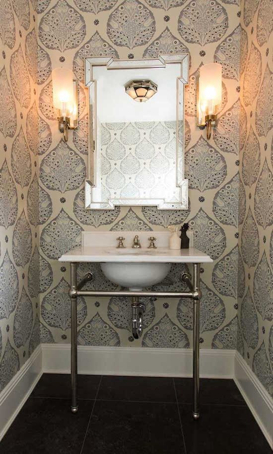 LOTUS WALLPAPER This stunning wallpaper from Galbraith and Paul is simple and beautiful. To get this look 1. blue and white wallpaper 2. Pedestal basin in white and chrome 3. Wall lights 4. Black floor 5. Silver-framed mirror #gabraithandpaul #wallpaper #navyandwhite www.carmendarwin.com
