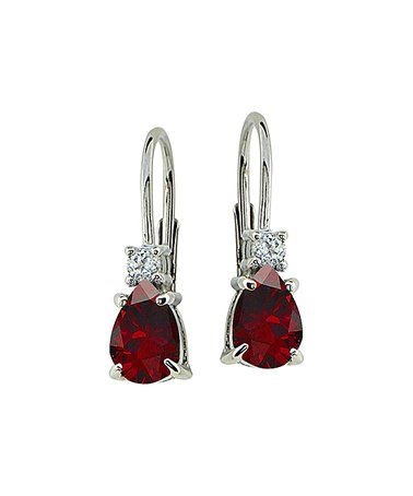 Another great find on #zulily! Ruby & White Topaz Leverback Earrings #zulilyfinds