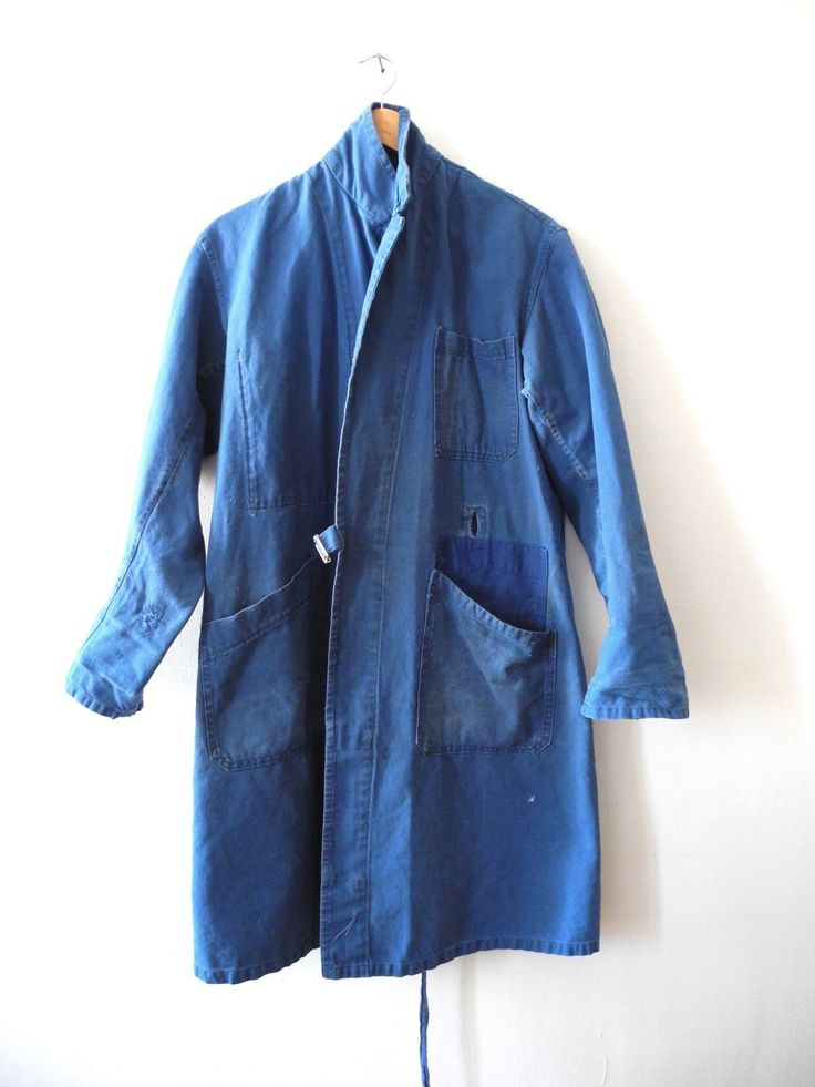 Vintage French circa 1930s workwear indigo duster