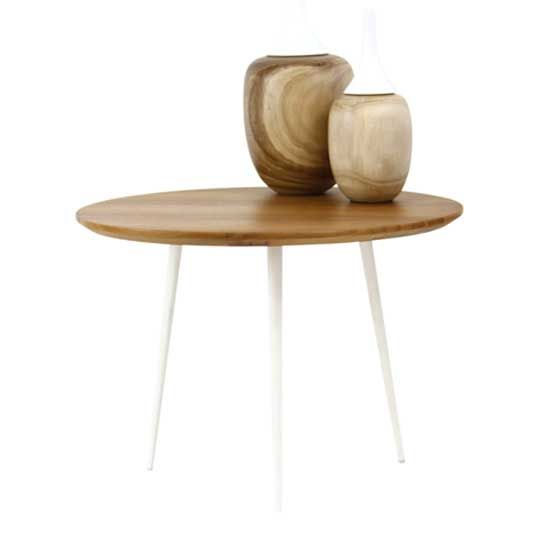 Mols Side table in Oak top and iron white legs