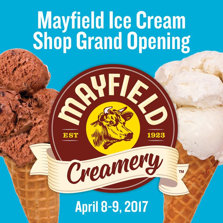 2017 Season: Here's the scoop!  We're hosting a special Grand Opening for our NEW Mayfield Ice Cream Shop April 8 and 9, 2017 and we want you there to celebrate with us!  Bring the whole family to our ice cream shop from 1-5 PM for FREE Mayfield Ice Cream samples, surprises and a SPECIAL guest appearance from Maggie the Mayfield Cow.