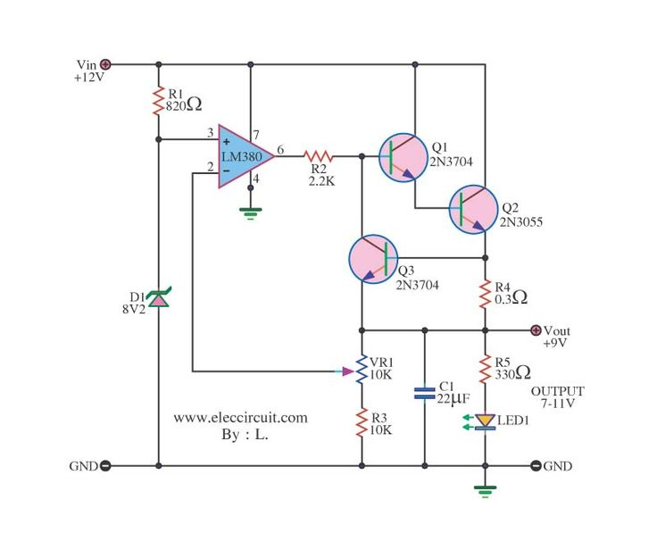 12v to 9v step down dc converter using ic 741 and 2n3055