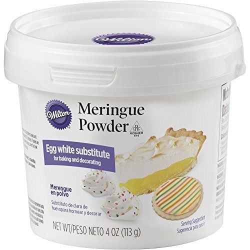 Wilton 702-6020 Meringue Powder - The perfect egg white substitute, Meringue Power comes in handy for a variety of baking and decorating recipes. Use it to make the picture perfect meringue cookies without the worry of getting a drop of liquid into your recipe-which can make meringues fall flat. Make your own homemade royal icing...