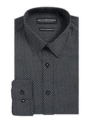 e4dcc57680 Nick Graham Modern-Stretch Fit Dot-Print Button-Down Shirt