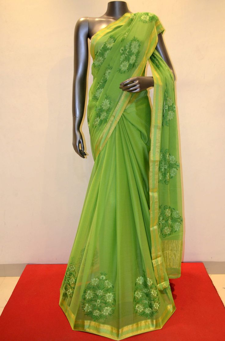 Green Designer Chiffon With Beautiful Embroidery Product Code: AA214611 To shop online click here: http://www.janardhanasilk.com/index.php?route=product/product&product_id=1493&search=AA214611