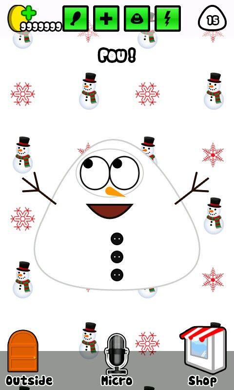 Pou #white#snowman#snow#happy#carrot#nose#Android#App#Unlimited#Coins#Follow#Back#FollowBack#PinPou#Pinterest