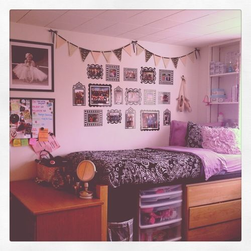 Sticky wall frames for pictures -- neat dorm room design idea. #HomeSweetDorm #collegedorm #dormdesign