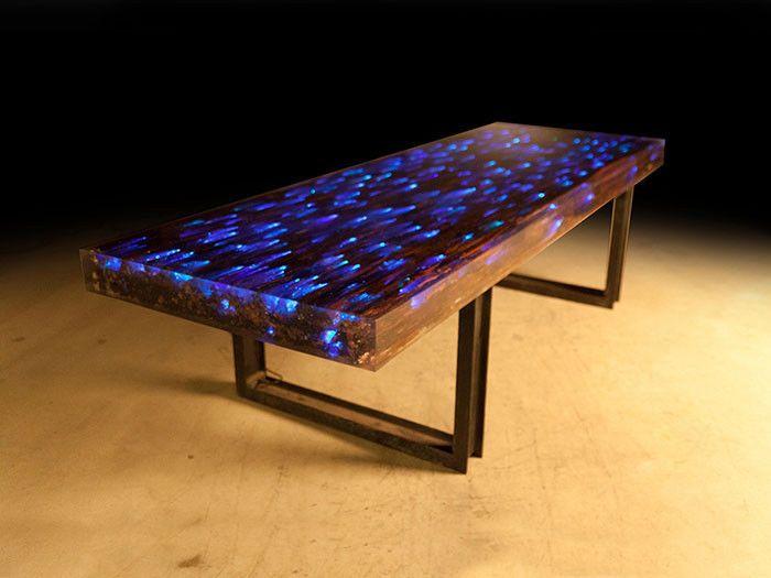 Nice 10 Ft L Dining Table Desk Driftwood Resin Embedded LED Lights Iron Rail  Base AG
