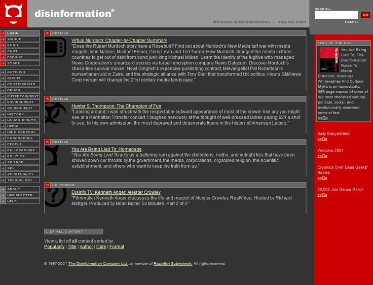Disinformation website in 2001