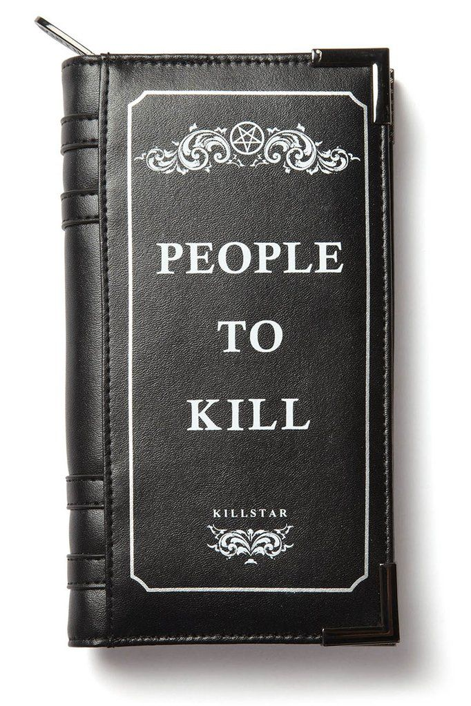 Kill List Book Wallet [B] | KILLSTAR Luxe Vegan Leather. Zip Closure. Book-Style Metal Corners. 20cm x 12cm. Book-style wallet with just all the possible storage needs a girl can have; keep yer change, notes, cards, spells, old talismans and more safely stored in this rad wallet. Luxe Vegan leather, with print on one side - silver metal corners and full closure zip so ya can make sure to not loose anything.