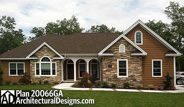 3BR Ranch House Plan 20066GA built by our client in New Jersey. 2,000 sq. ft. stone and siding