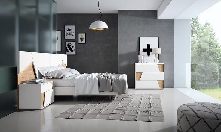 Modernidad luminosa en esta composición de Gráfika de roble y blanco lacado.  #Gráfika #MueblesMesegue #Dormitorios #Descansar #Despertar