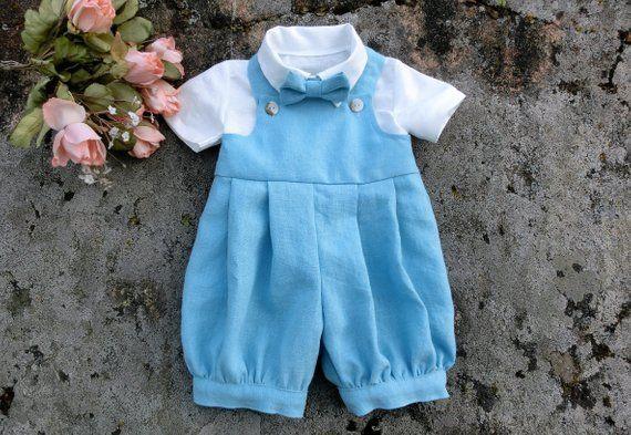 83a5c7b7e971 Blue linen outfit baby boy first birthday Baby boy wedding outfit baby  birthday romper Baby linen clothes