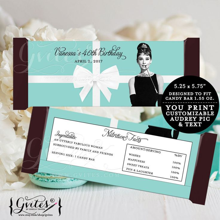 Birthday Candy bar wrappers blue theme Audrey Hepburn