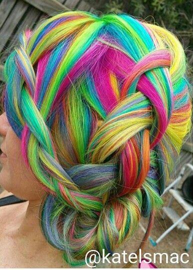 braided bun rainbow dyed hair