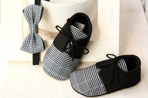 Scarpe ragazzo bambino nero e Papillon SET, vestito smoking bambino, battesimo scarpe, scarpe da sposa bambino bambino ragazzo scarpe Plaid farfallino