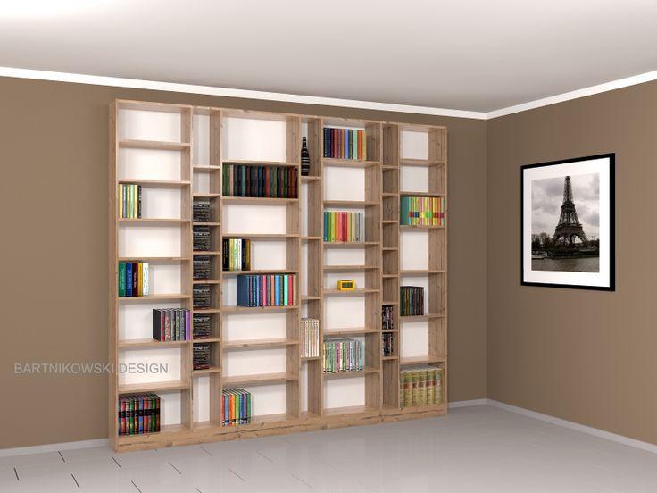 Regał na książki BARTNIKOWSKI MEBLE z półkami o różnej wysokości ALBERT.
