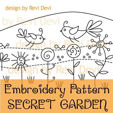 Secret Garden 15046 - Embroidery Pattern - PDF download - Whimsical design