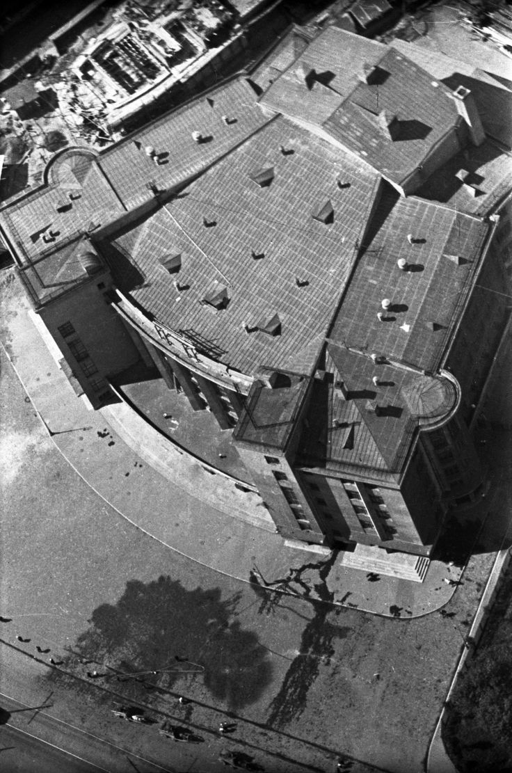 """Gorky House of Culture, 1931. This was the first house of culture built in constructivist style, on Strike Square in 1937, by architect A.I. Gegello. It won a Grand Prix award at the World Exhibition in Paris that year. From a series of photos of Leningrad from the air, taken for the magazine """"USSR in Construction"""". Russia"""