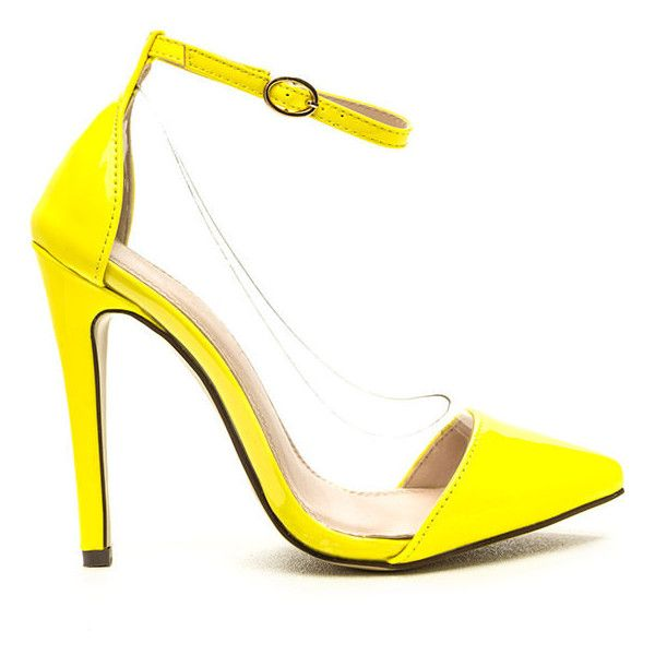 Clear The Way Pointy Pumps (310 MXN) ❤ liked on Polyvore featuring shoes, pumps, yellow, high heel shoes, clear high heel shoes, yellow pumps, clear shoes and high heel pumps
