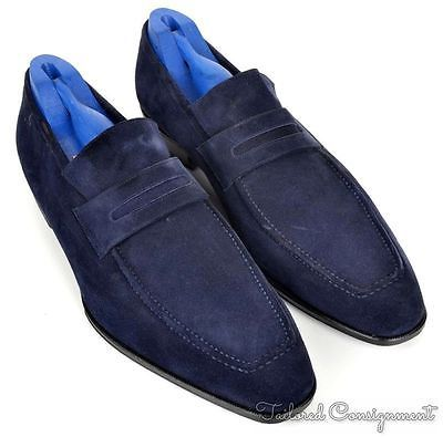 HADLEIGH& Sutor Mantellassi Blue Suede Mens Dress Shoes Loafer